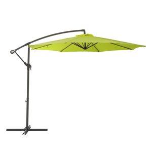Parasol excentré vert lime pour la terrasse