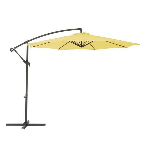 Parasol excentré jaune pour la terrasse