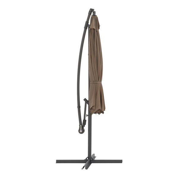 Parasol excentré brun sable pour la terrasse