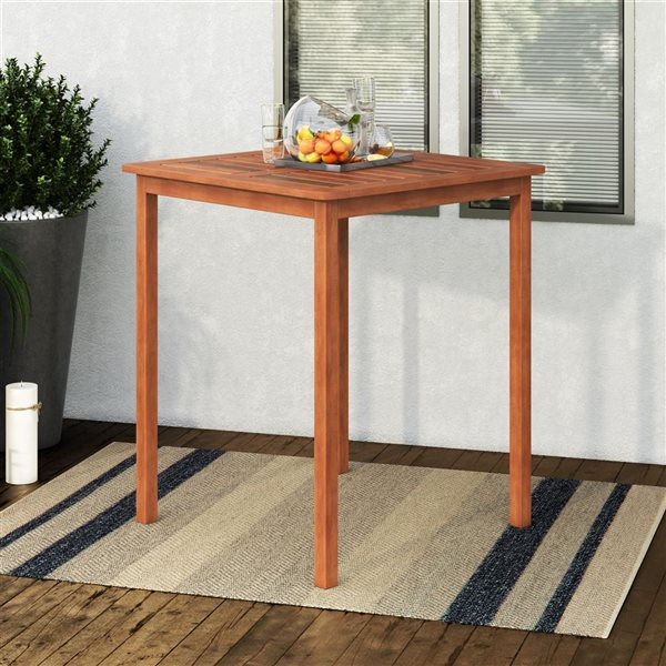 Table hauteur bar extérieure, brun