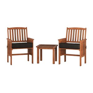 Patio Set - 3 Pieces - Black