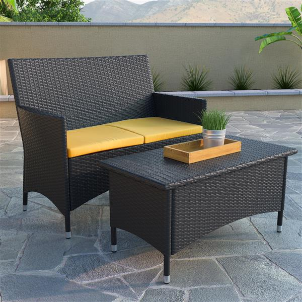 Sofa et table basse extérieure, gris