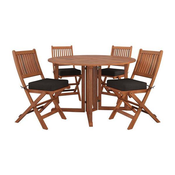 Salle à manger pliante extérieure, 5 mcx, brun