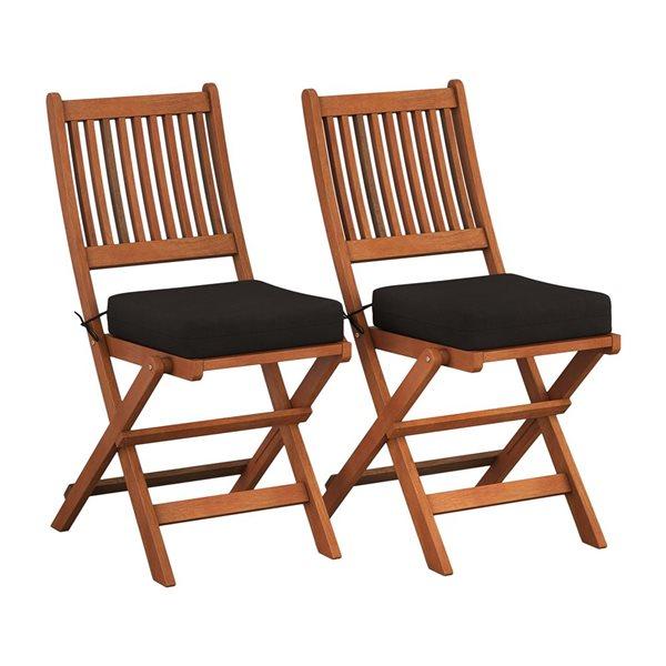 Ensemble de chaises pliables, 2 mcx, brun