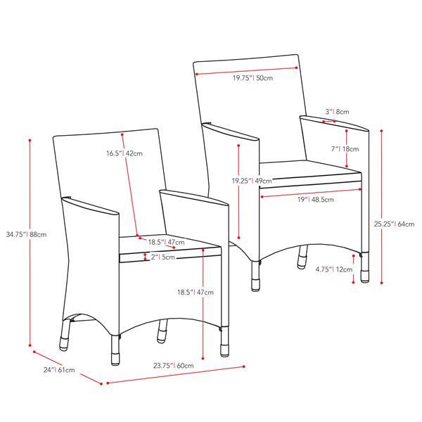 Ensemble de chaises de patio, 2 mcx