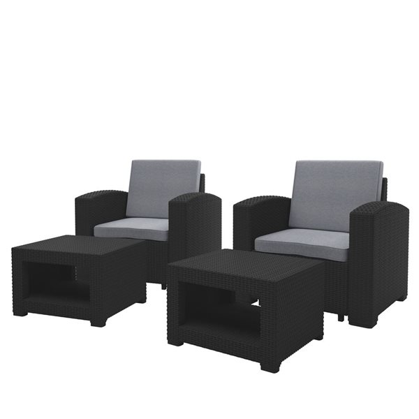 CorLiving Outdoor Chair and Ottoman Set - Black