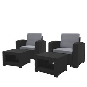 Outdoor Chair and Ottoman Set - Black