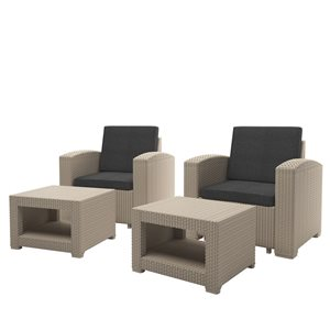 Outdoor Chair and Ottoman Set - Beige