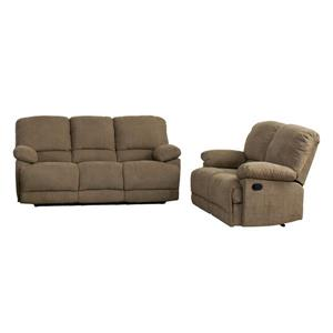 Chenille Fabric Reclining Sofa Set - 2 Pieces - Brown
