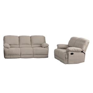 Chenille Fabric Reclining Sofa Set - 2 Pieces - Beige