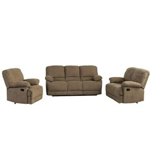 Chenille Fabric Reclining Sofa Set -3 Pieces - Brown
