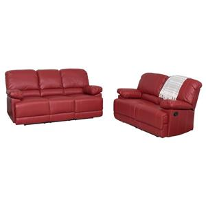 Red Bonded Leather Reclining Sofa Set -2 Pieces