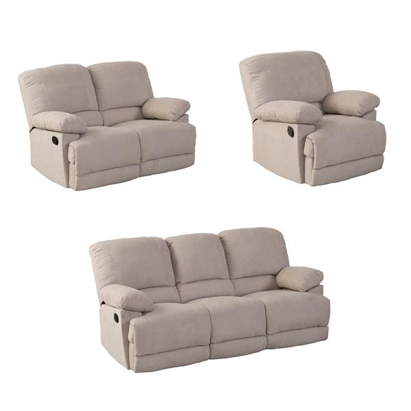 Beige Chenille Fabric Reclining Sofa Set - 3 Pieces