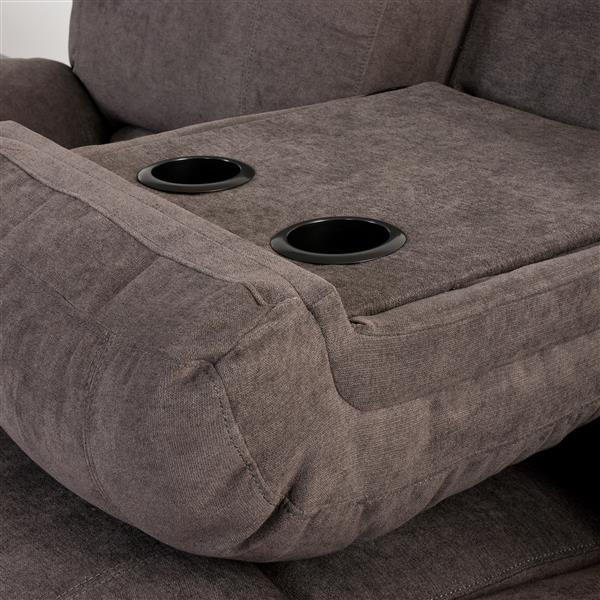 CorLiving Chenille Fabric Reclining Sofa Set -  2 Pieces - Grey