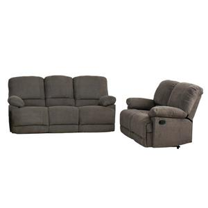 Chenille Fabric Reclining Sofa Set -  2 Pieces - Grey