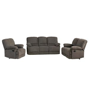 Chenille Fabric Reclining Sofa Set - 3 Pieces - Grey