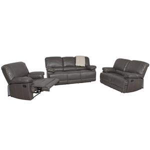 Bonded Leather Reclining Sofa Set - Brown