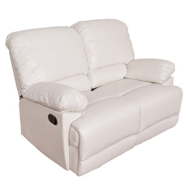 Ensemble de sofas  3 pièces en cuir reconstitué, blanc