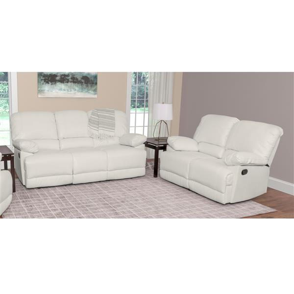 CorLiving Bonded Leather Reclining Sofa Set - 2 Pieces - White