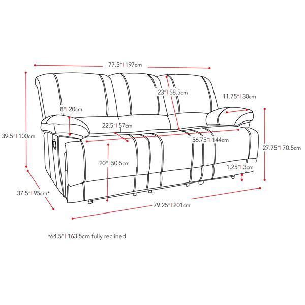 Ensemble de sofas en cuir reconstitué, 3 pièces , noir