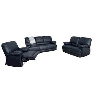 Bonded Leather Reclining Sofa Set - 3 Pieces - Black