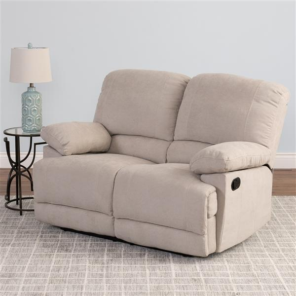 Corliving Causeuse Inclinable En Tissu Chenille Beige Lzy 361 L Rona