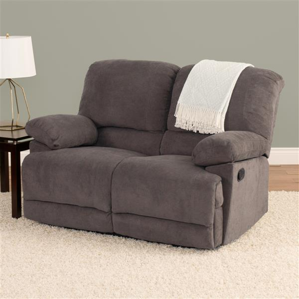 Causeuse inclinable en tissu chenille, gris
