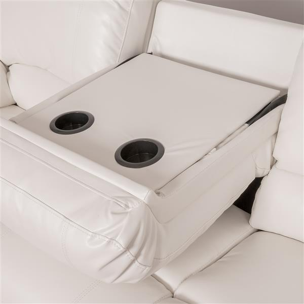 CorLiving Bonded Leather Reclining Sofa - White
