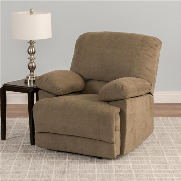 CorLiving Chenille Fabric Recliner - Brown