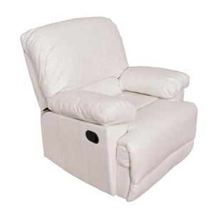 CorLiving Bonded Leather Reclining Chair - White