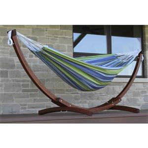 Vivere Double Cotton Hammock with 8ft Solid Pine Stand (oasis)