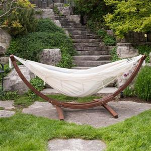 Vivere Double Cotton Hammock with Pine Stand - Natural - 8ft