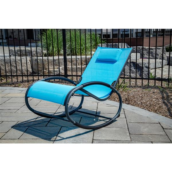 Vivere Rocking chair Wave Rocker - Aluminum - Blue and Grey