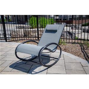 Vivere Rocking chair Wave Rocker - Aluminum - Grey on Matte Black