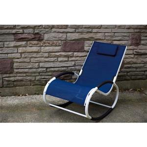 Rocking chair Wave Rocker - Aluminum - Navy and White