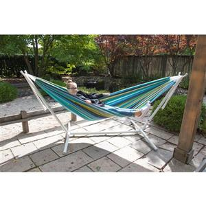 Vivere Double Cayo Reef Hammock with White Stand - 9-ft