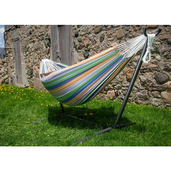 Vivere Double Hammock Retro with Stand - 9-ft