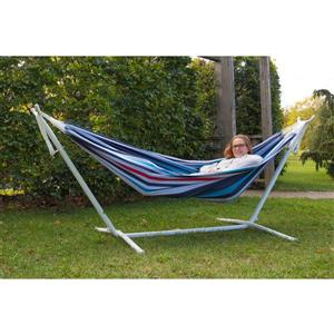 Vivere's Double Denim Hammock with White Stand - 9'