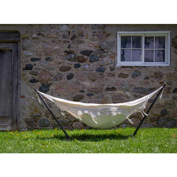 Vivere Double Deluxe Fringe Natural Hammock with Stand 9'