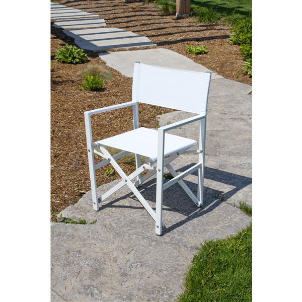 Studio Aluminum Folding Director's Chair - White