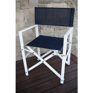 Chaise de studio pliante en aluminium, Marine et Blanc