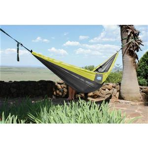 Vivere Parachute Hammock Double - Grey and Yellow - 128-in
