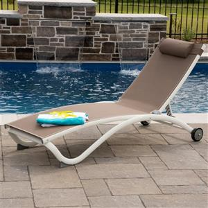Chaise longue Glendale en aluminium, 4 positions, Tan