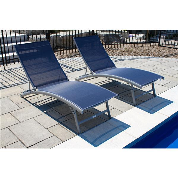 Chaises longues Clearwater aluminium, Marine, Ens.2