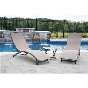 Vivere Coral Springs Lounge chairs - Aluminum - Macchiato - 3pc.