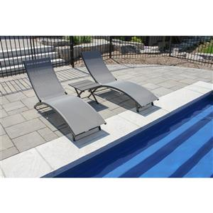 Vivere Coral Springs Lounger - Aluminum - Grey - 3pc.