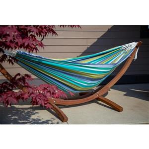 Double Cotton Hammock with Pine Stand - Cayo Reef - 8'