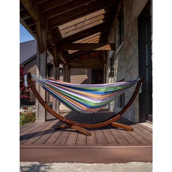 Vivere Double Cotton Hammock with Solid Pine Stand - Retro - 8-ft