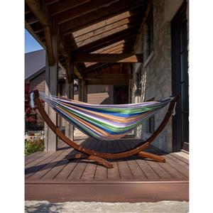 Double Cotton Hammock with Solid Pine Stand - Retro - 8'