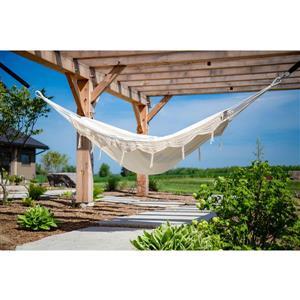 Vivere Brazilian Style Hammock Double -Natural with Fringe - 12-ft
